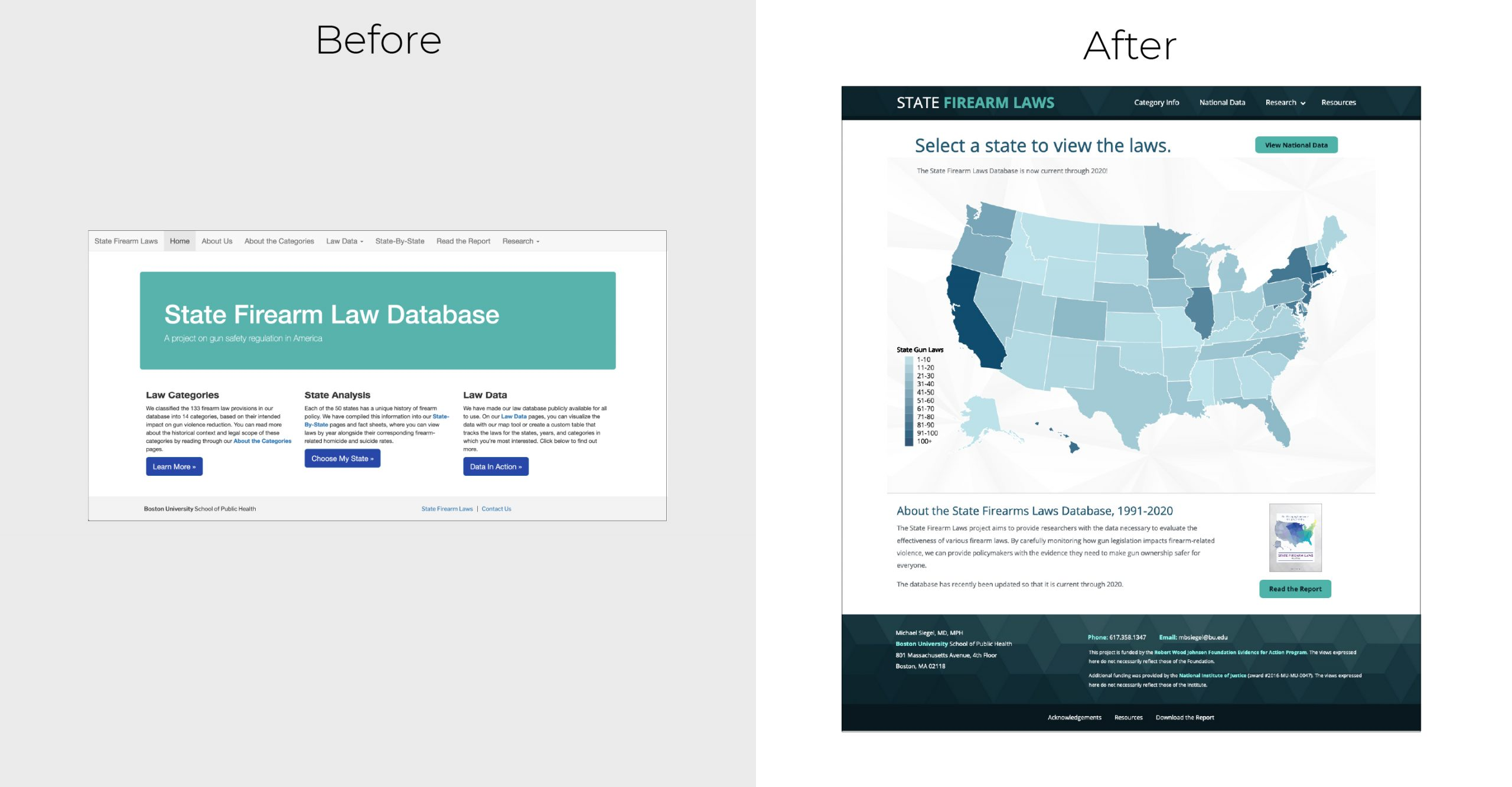 State Firearm Laws homepage before and after the redesign